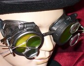 Steampunk Goggles Glasses AVIATOR magnifying lens loops---RARE-----Time Travel Crazy Scientist's Oculo-Vision Tool---2-3 DAYS SHIPPING