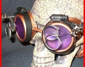 Steampunk Goggles Glasses AVIATOR  magnifying lens loops---CP-----Time Travel Crazy Scientist's Oculo-Vision Tool