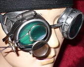 Steampunk Goggles Glasses AVIATOR magnifying lens loops---RARE-----Time Travel Crazy Scientist's Oculo-Vision Tool---