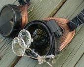 Steampunk Victorian Aviator GOGGLES glasses  Time Travel Crazy Scientist's Oculo-Vision Tool---redblck