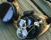 Steampunk Goggles glasses Victorian  Time Travel Crazy Scientist's Oculo-Vision Tool---gldblck