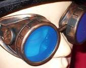 Steampunk Goggles Glasses AVIATOR Copper cyber gothic lenses----- Time Travel Crazy Scientist's Oculo-Vision Tool---