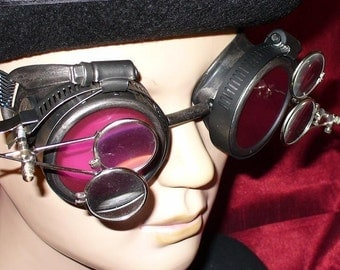 Steampunk Goggles Glasses AVIATOR magnifying lens loops---RARE-----Time Travel Crazy Scientist's Oculo-Vision Tool