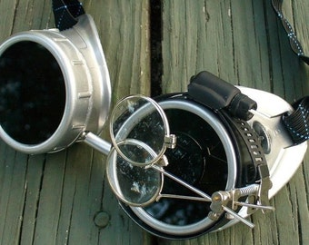 Steampunk Goggles Glasses Time Travel Crazy Scientist's Oculo-Vision Tool---F slvrslvr