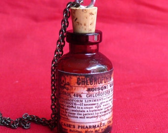 Steampunk MAGICAL POISON Necklace Pendant----MINI shot bottle - apothecary vial