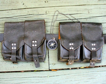 Bandolier Bandoleer Steampunk gothic Victorian military pirate Gun Holster BELT PostApocalyptic purse bag pouch--compass