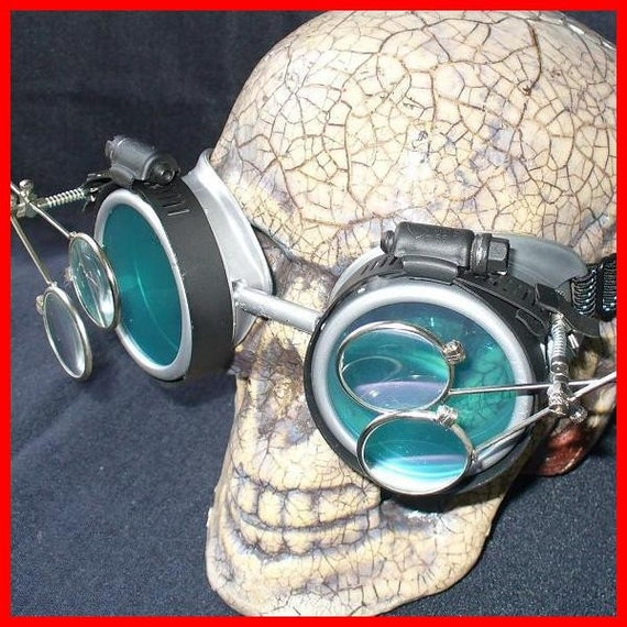 Steampunk Goggles Glasses AVIATOR magnifying lens loops---SG-----Time Travel Crazy Scientist's Oculo-Vision Tool