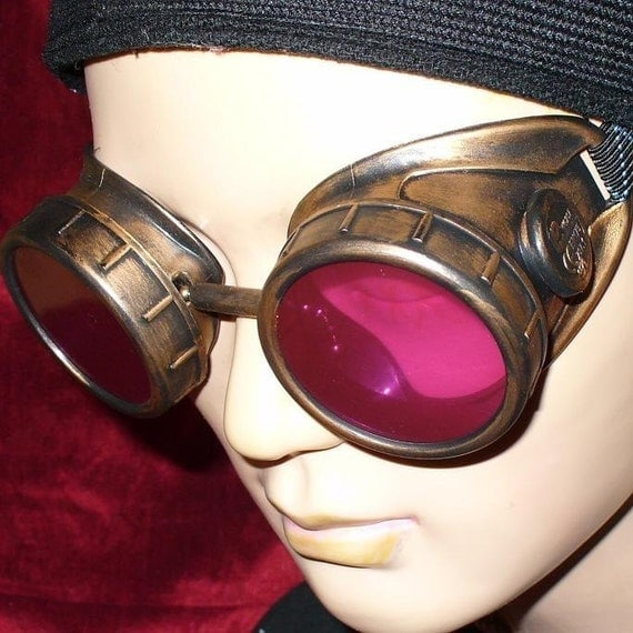 Steampunk Goggles Glasses AVIATOR cyber gothic lenses----- Time Travel Crazy Scientist's Oculo-Vision Tool---2-3 DAYS SHIPPING