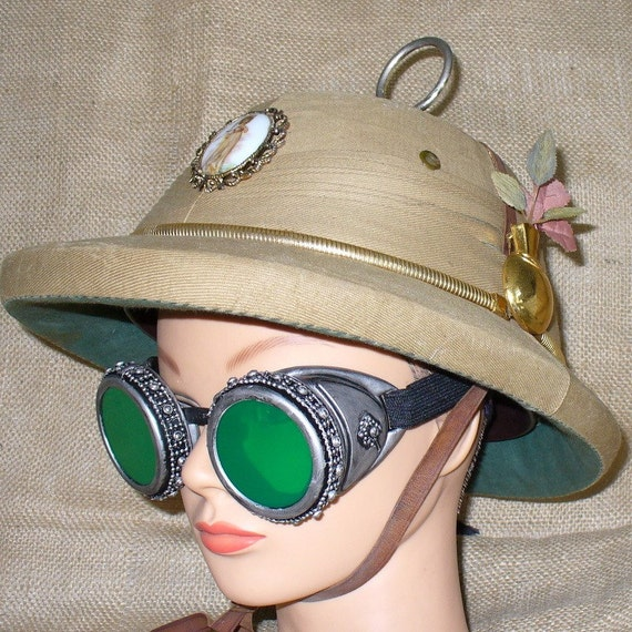 Steampunk goggles Top Hat Helmet watch parts glasses Directly from the year 2053--- Victorian sci fi look