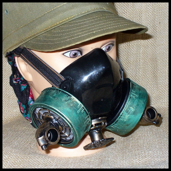 Steampunk Gas Mask Sci-fi Cyber PUNK---Directly from year 2053-----AGED VICTORIAN style
