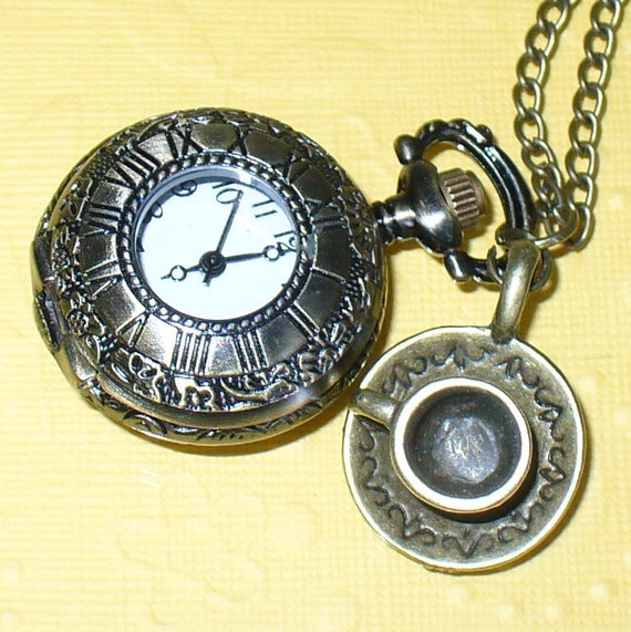 Steampunk pocket watch CRAZY TIME -- Alice in Wonderland great watch necklace