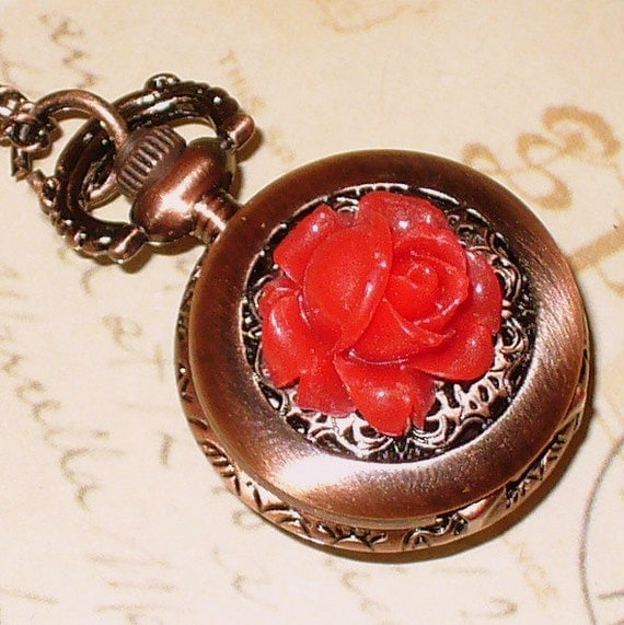 ENCHANTED Steampunk  pocket WATCH necklace pendant charm Victorian flower-Alice in Wonderland wedding choker