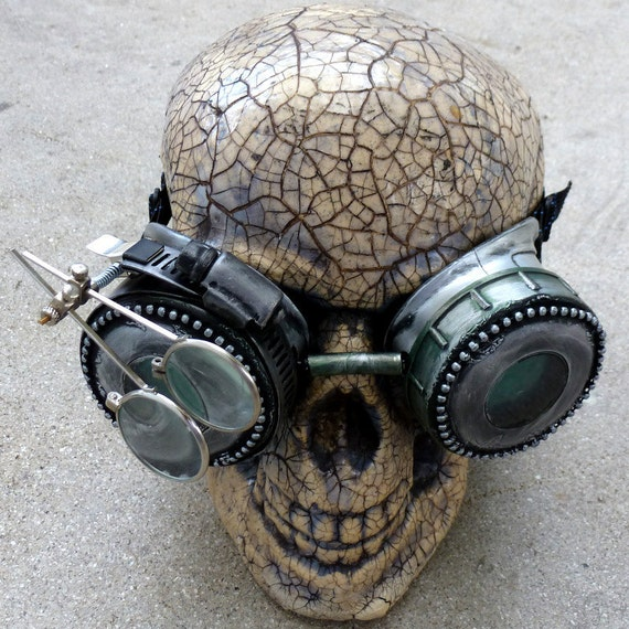 Steampunk Goggles Glasses  lenses loops cyber---RARE-----Time Travel Crazy Scientist's Oculo-Vision Tool---biker motorcycle