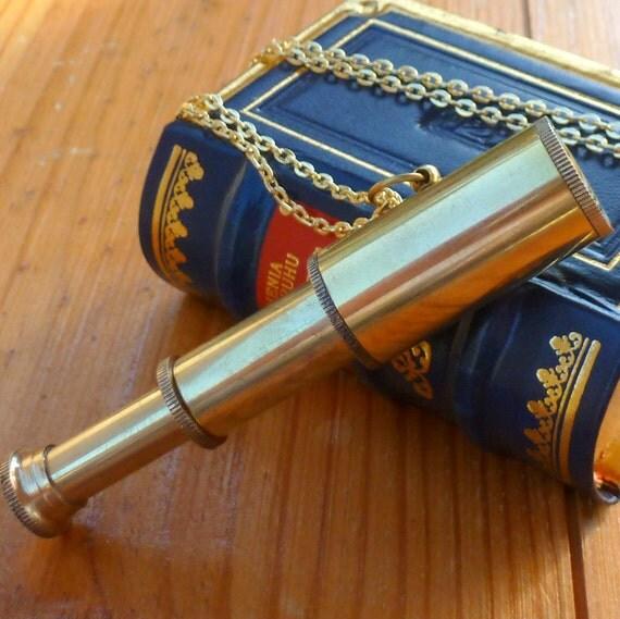 Steampunk Victorian brass Spyglass TELESCOPE NECKLACE pirate pendant nautical----Great Gift