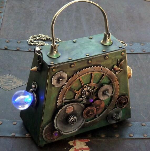 Steampunk Owl Pocket watch pendant   Victorian  Clutch Purse Gothic Pirate Victorian  BOX pocket watch parts