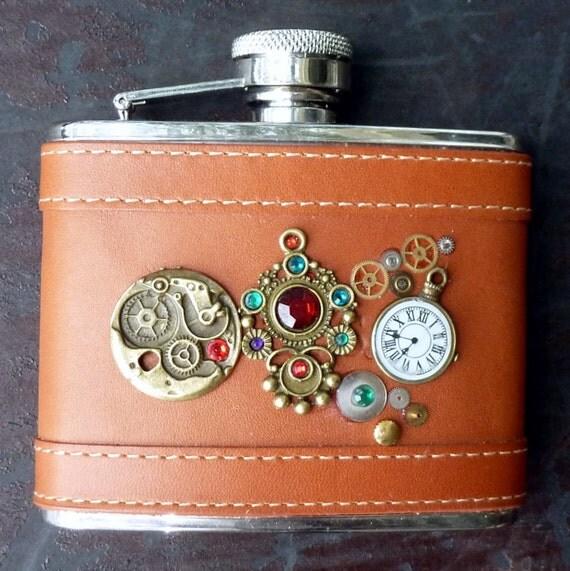 Steampunk Flask Whiskey Gothic bottle pocket watch Victorian  ----RARE