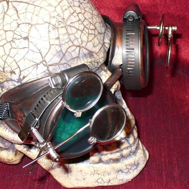 Steampunk Goggles Glasses AVIATOR magnifying lens