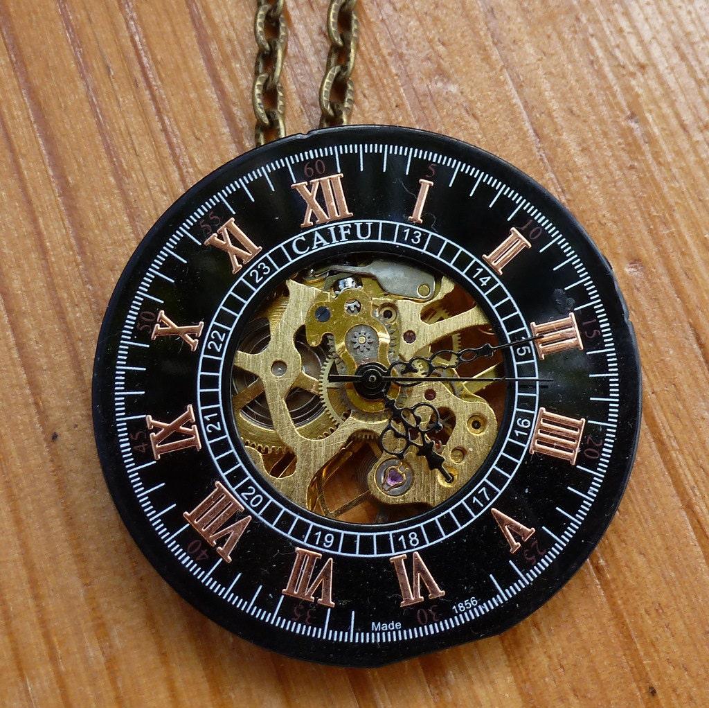 steampunk fantasy victorian pocket watch dial necklace