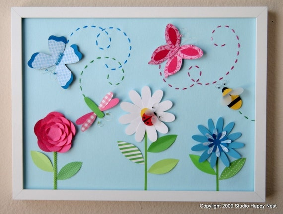Garden Party - Two Framed Collages
