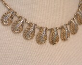 1960's Vintage Marcasite and Filigree Shell Shape Necklace
