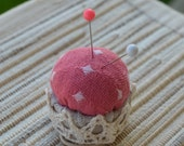 Upcycled Bottle Cap Ring Pincushion filled with natural wool - Pink