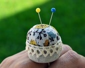 Upcycled Bottle Cap Ring Pincushion filled with natural wool - Yellow Flower