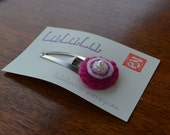 Round beads flower snap clip - Fucsia