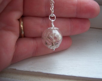 STERLING SILVER VERSION Dandelion Necklace - Make A Wish Glass Orb necklace - Bridesmaid Gifts - Free Gift With Purchase