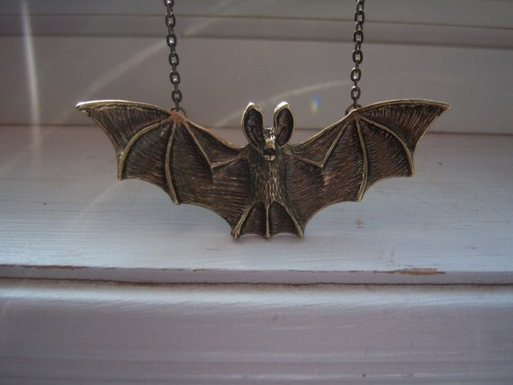 Bat Necklace - Steampunk - Halloween Necklace - Gothic Necklace - Free Gift With Purchase