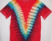 Boys/Unisex Kids Tie-dye T-shirt, Sz. L (10/12) Scarlet & ROYGBIV V