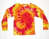 Youth Long-Sleeved Tie-dye Shirt, Sz. 6, red orange yellow