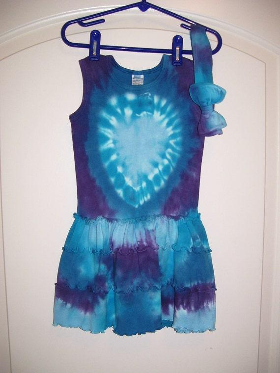 Tank Top Tie-dye Toddler Dress, Sz. 2T (heart & spiral) w/ Matching Bow Headband