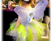 Tinkerbell inspired Tutu, flower clip, and Wings set 3 piece set CUSTOM HANDMADE