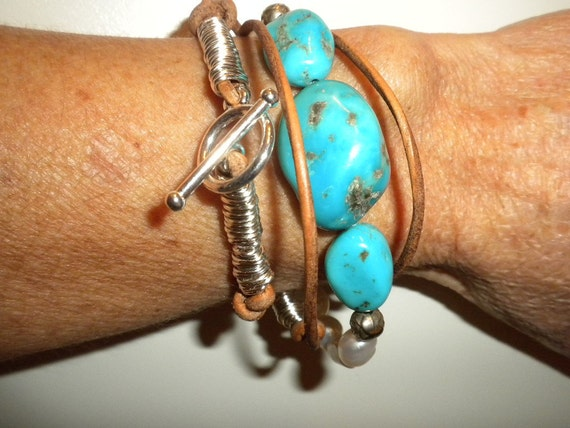 75% off Wrap Bracelet and Turquoise Pearl Leather Necklace coupon code 75off at checkout