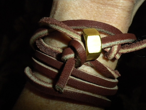 Men's Leather and Nut Wrap Bracelet