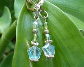 Earrings - 24 Hour Half Price Sale - Retro Earrings Beveled Glass Green Iridescent Drop
