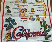 R E S E R V E D:  Vintage Mid Century Linen Tea Towel - CALIFORNIA  - Fun Souvenir Kitsch