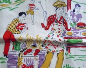 Vintage 1940s Picnic in the Park Towel - wonderful graphics