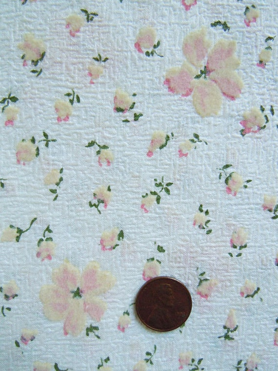 RESERVED for Piathreads:  Just Peachy - Flocked Floral 36 in. wide NOS Vintage Fabric loaded with charm and texture
