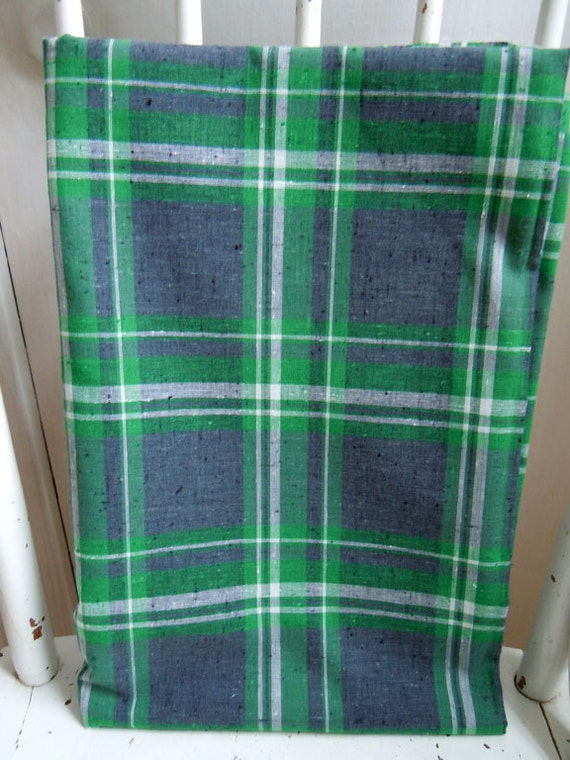 Charcoal and Green - Vintage 36 in. wide Woven Plaid Fabric