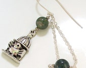 Dangle Earrings I Know Why the Caged Bird Sings  silver and moss agate