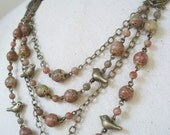 SALE Was 56 dollars  Enchanted Forest Necklace Earring Set Autumn Jasper and Antiqued Brass Birds