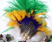 Mardi Gras Beauty Feather and Pearl Hair Clip