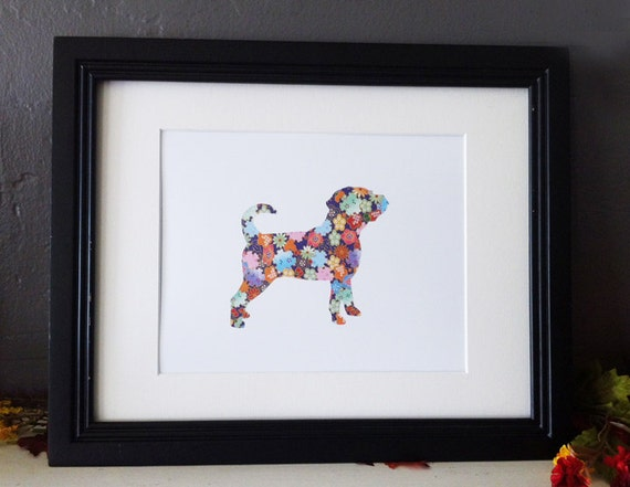 Colorful Flowers- Puggle Dog Silhouette