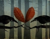 LOVE BIRDS I'll share my heart with you Black Crows illustration  PRINT inches Signed