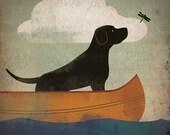 BLACK DOG DRAGONFLY Labrador Retriever Canoe Ride  original Graphic Art Giclee Print 12x12 Signed