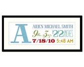 Made To Order CUSTOM  Baby Birth Nursery graphic art Text Giclee Print 6X17 inches