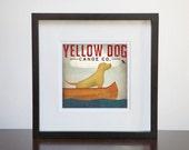 Yellow Dog Canoe Company Custom Framed Giclee Print 13x13 Wood Frame Yellow Lab