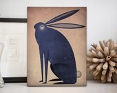 The Indigo Rabbit -  Illustration on Stretched Canvas Wall Art Signed