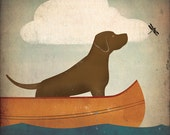 CANOE RIDE Chocolate Lab 16 x 16 inch Giclee Print SIGNED by Ryan Fowler